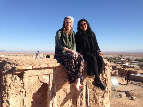 Atop a mud-brick house in Garmeh, Dasht-e Kavir