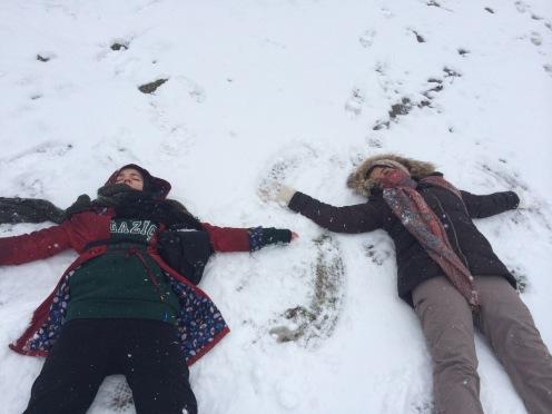Snow angelling in Masuleh, Gilan Province